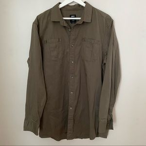 Publish Button Down Olive Green Today for Tomorrow